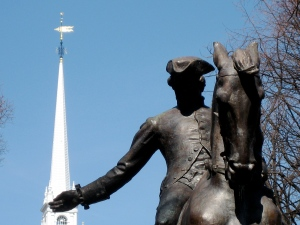 Statue of Paul Revere on the Paul Revere Mall